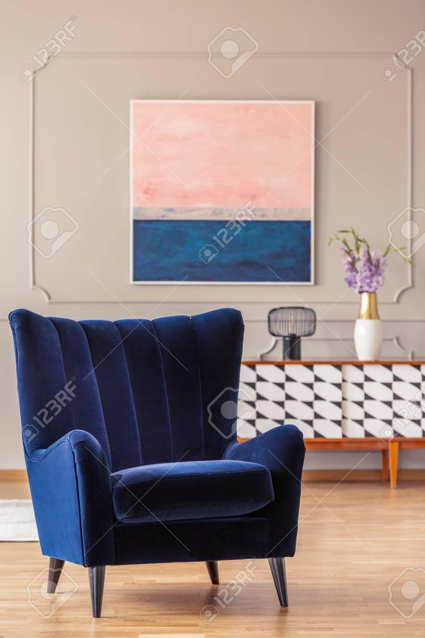 navy blue armchair