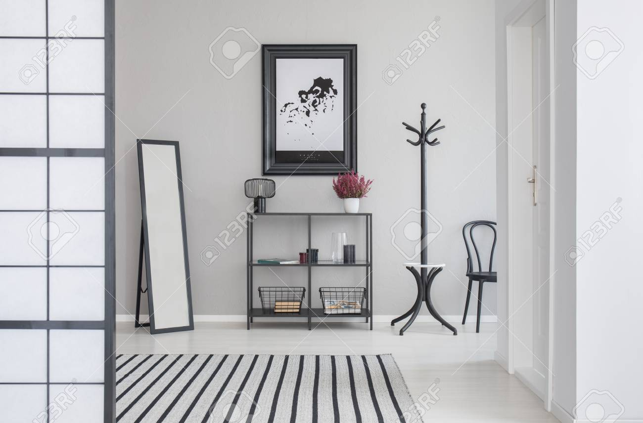 Map in black frame on the grey wall of corridor with mirror,.. Map Hanger on map mirror, map scrapbook, map plastic, map hwy 224 clackamas 32nd, map chair, map of downtown denver rtd, map bag, map accessories, map skirt,