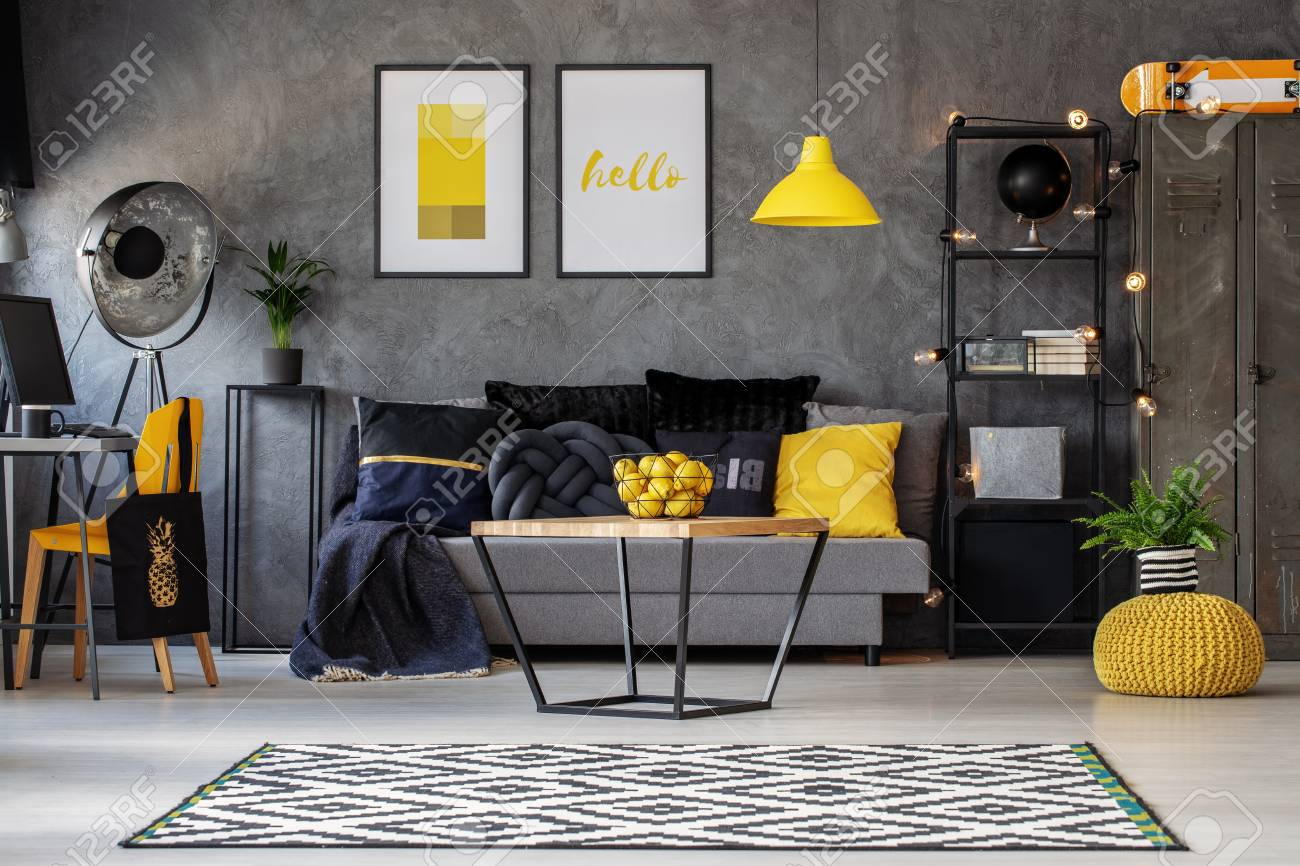 Lemons In Metal Basket On Wooden Coffee Table In Grey Scandinavian.. Stock Photo, Picture And Royalty Free Image. Image 110642489.