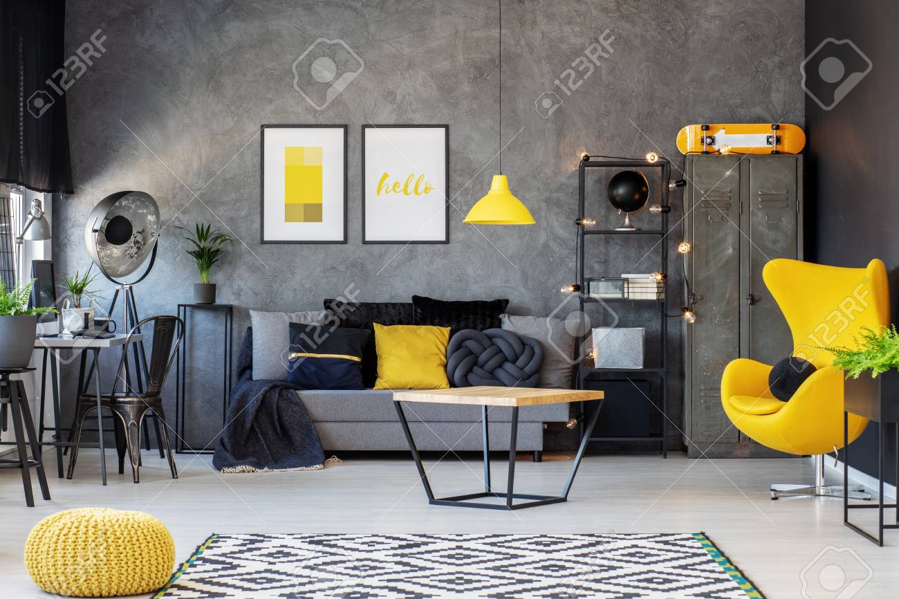 Grey And Yellow Scandinavian Living Room With Stylish Egg Chair,.. Stock Photo, Picture And Royalty Free Image. Image 110642561.