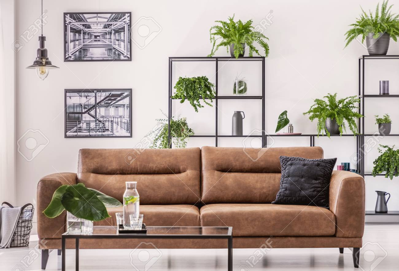 Brown leather sofa in the middle of elegant living room with..