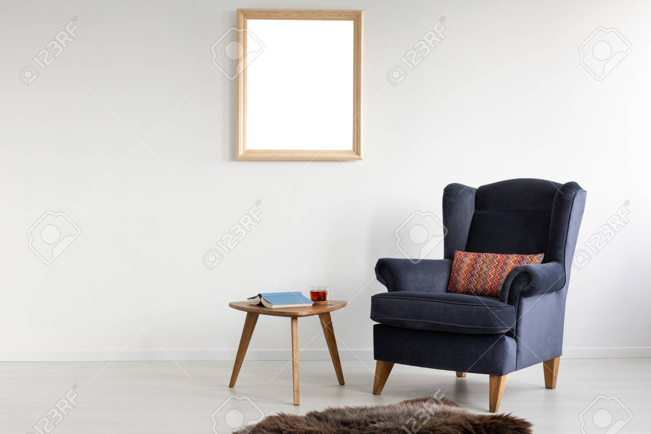 Frame With Mockup On White Wall Of Elegant Living Room With