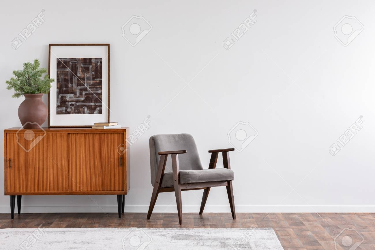 Vintage Living Room Interior With Retro Furniture And Poster Stock Photo Picture And Royalty Free Image Image 110982609