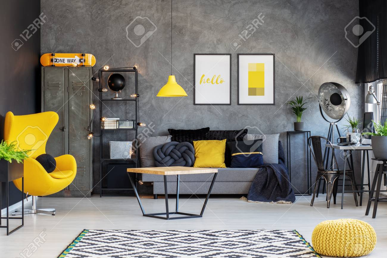 Yellow Egg Chair In Modern Living Room Interior With Home Office.. Stock Photo, Picture And Royalty Free Image. Image 112632278.