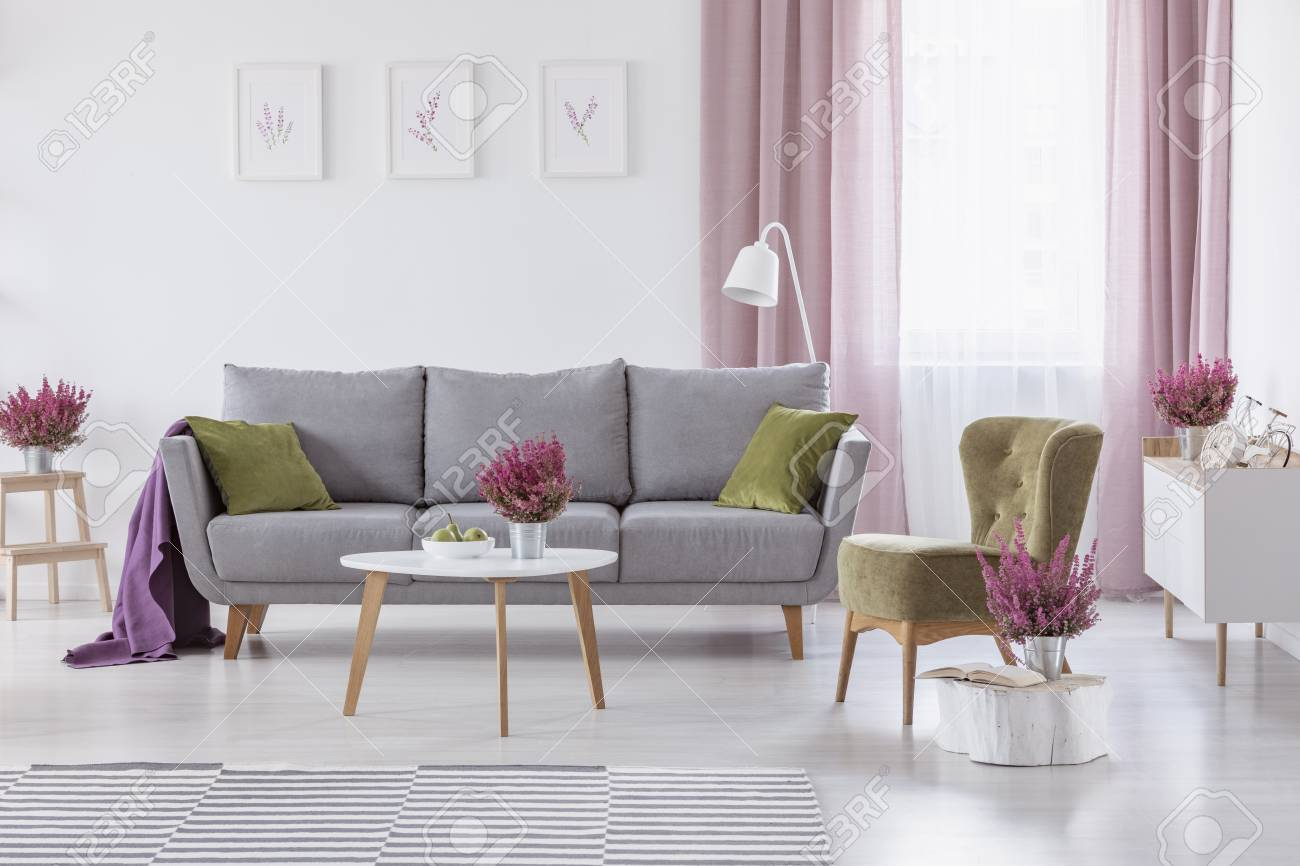 Grey settee with green cushions and purple blanket in real photo of white living room interior with coffee table with fruits and heather, posters on wall and window with white and dirty pink curtains - 111119544