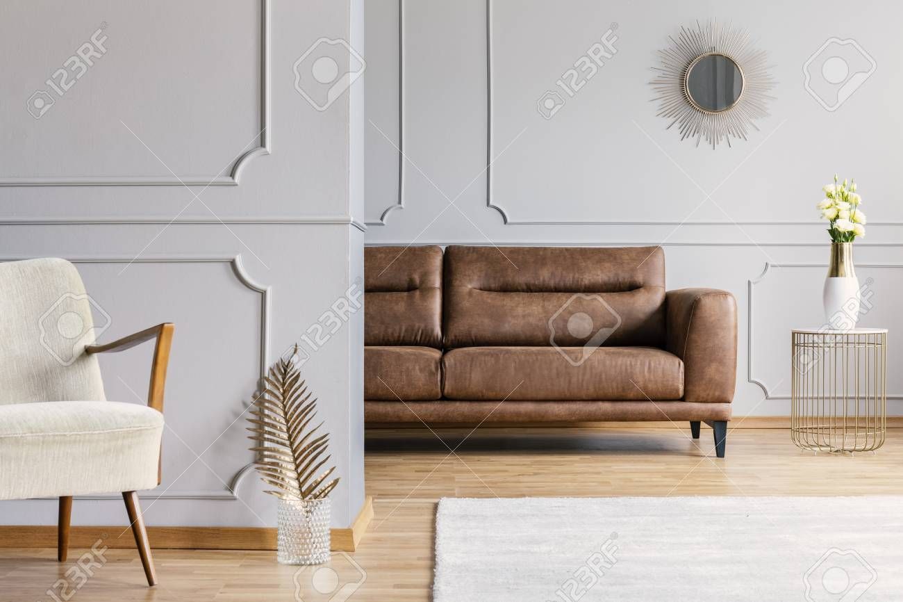 Open Space Living Room Interior With Decorative Mirror On Wall Stock Photo Picture And Royalty Free Image Image 111300166