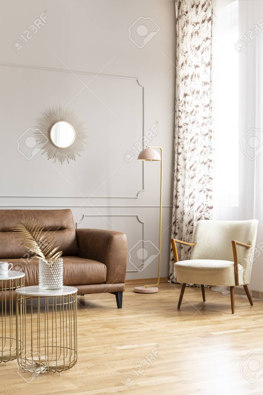 Pastel Pink Lamp Placed In The Corner Of Bright Sitting Room Stock Photo Picture And Royalty Free Image Image 111300319