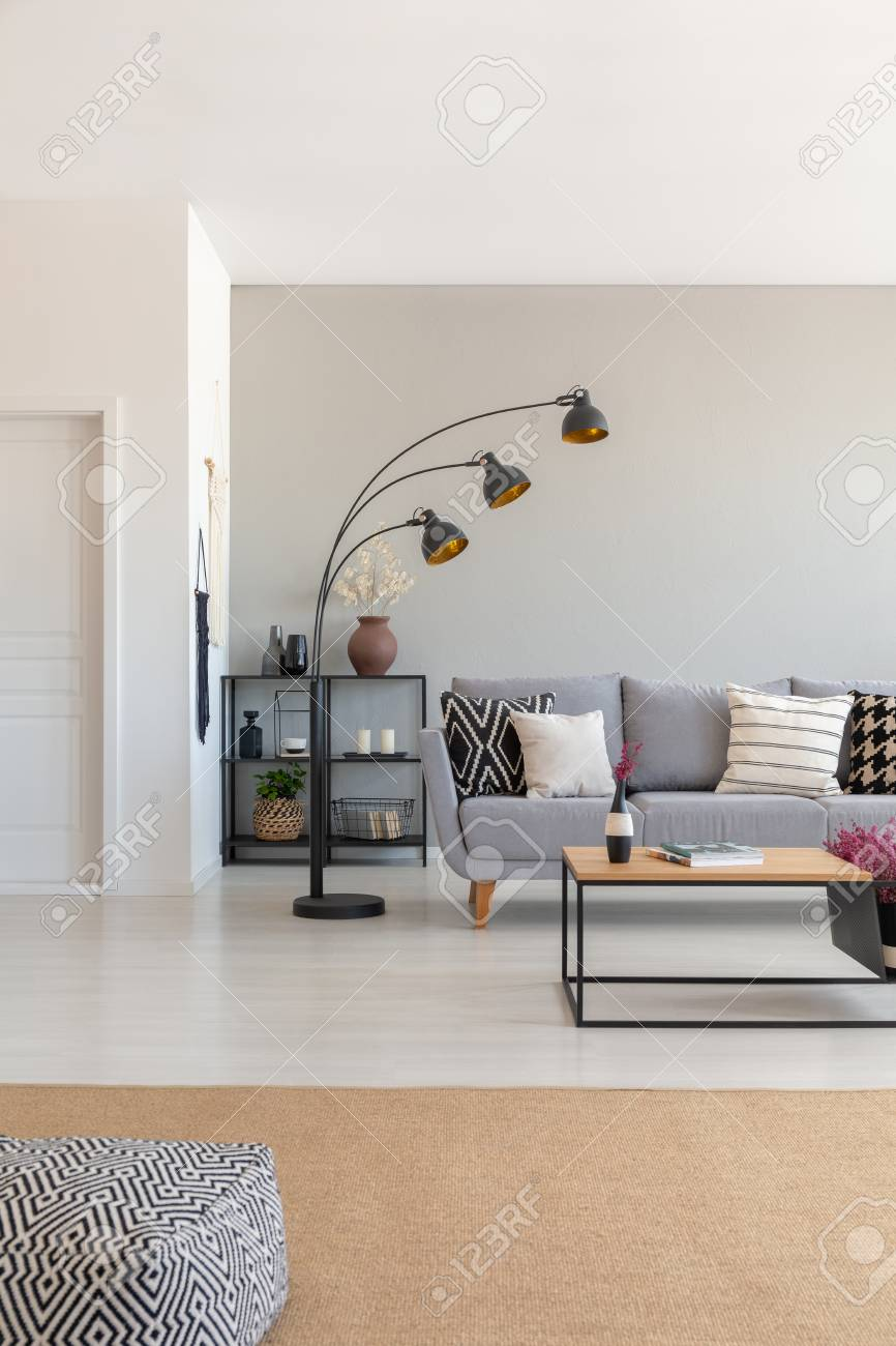 Vertical View Of Elegant Living Room Interior Design With Metal