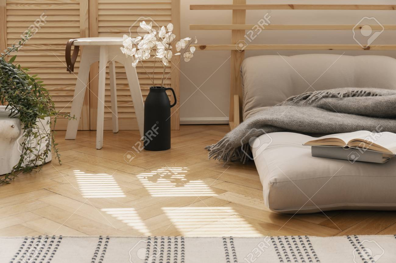 Hygge Bedroom With Scandinavian Futon As A Bed Next To White Stock Photo Picture And Royalty Free Image Image 112172259