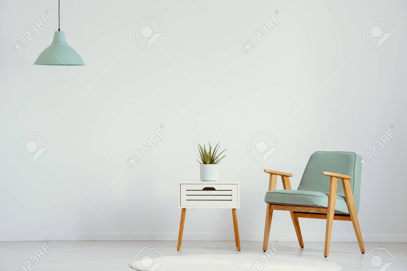Plant on cabinet next to green wooden armchair in flat interior with lamp and copy space. Real photo - 112172480