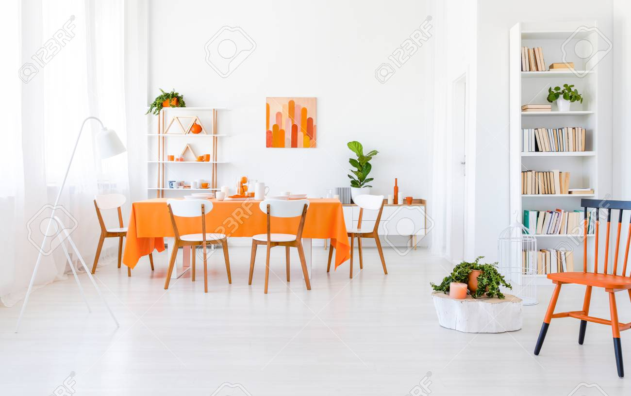 Bright Dining Room Interior With Window Drapes Rack Books Fresh Plants And