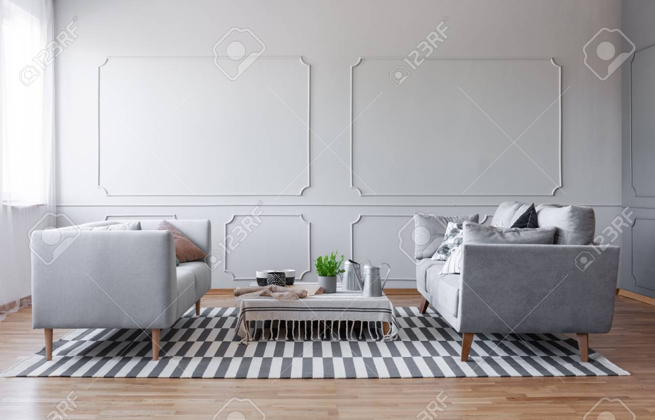 Copy Space On The Empty Wall Of Elegant Grey Living Room With