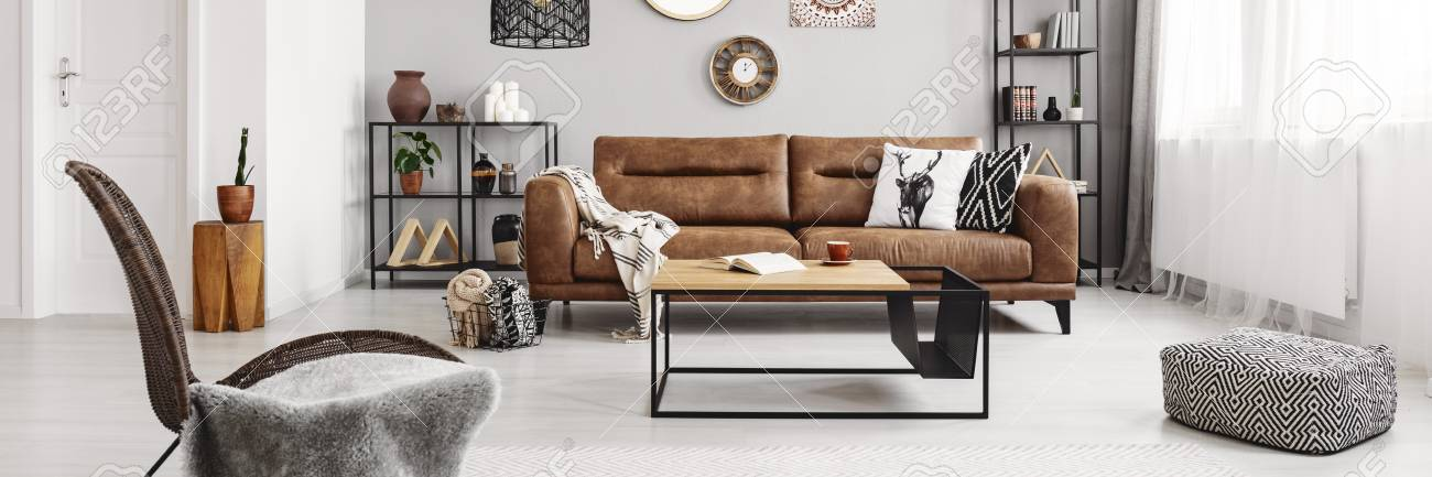 Real Photo Of Brown Leather Couch With Blanket And Pillows Standing Stock Photo Picture And Royalty Free Image Image 112561175