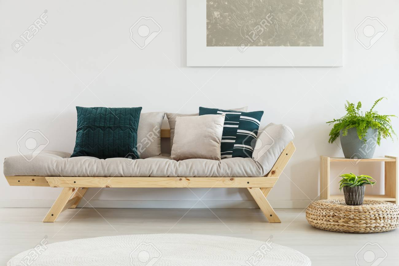 Contemporary Living Room Interior With Scandinavian Settee With