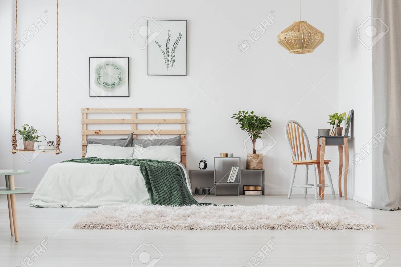 Scandinavian Bedroom Interior With Elegant Dresser And Warm Carpet Stock Photo Picture And Royalty Free Image Image 114053578