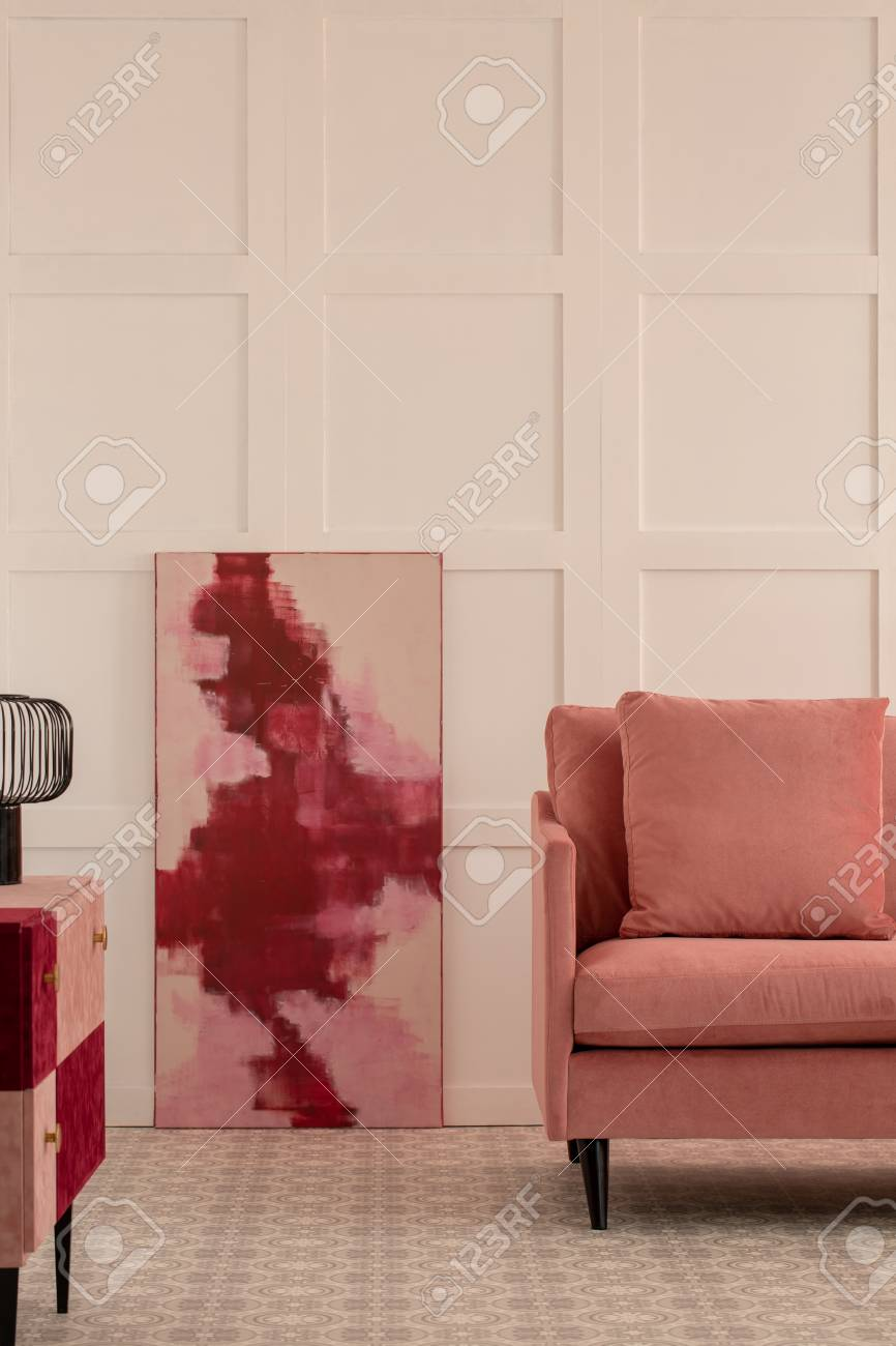 Burgundy And Pastel Pink Abstract Painting In White Living Room Stock Photo Picture And Royalty Free Image Image 114878587