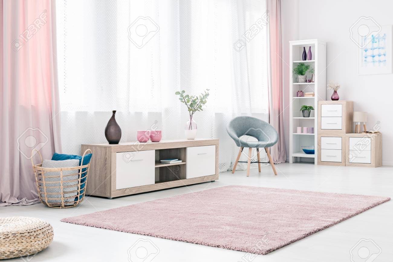 Bright Living Room Interior With Wooden Cabinet Grey Stylish