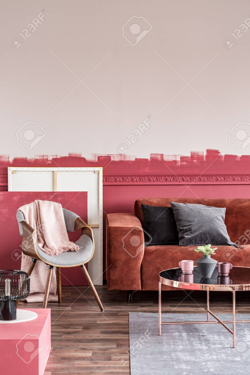 Living Room With Ombre Wall, Stylish Grey Chair With Pastel Ink.. Stock Photo, Picture And Royalty Free Image. Image 119191326.