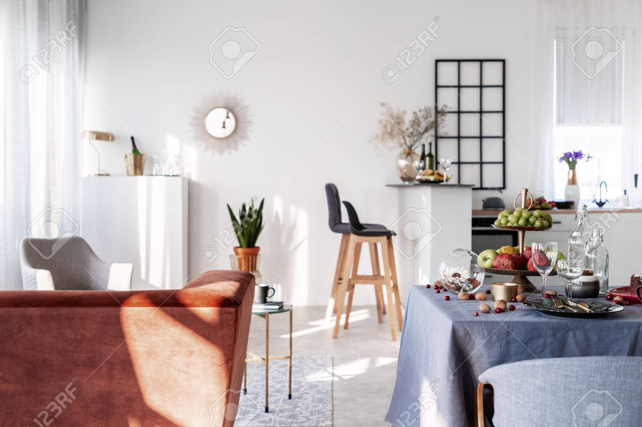 Small Studio Apartment With Open Plan Kitchen Living And Dining Stock Photo Picture And Royalty Free Image Image 119191977