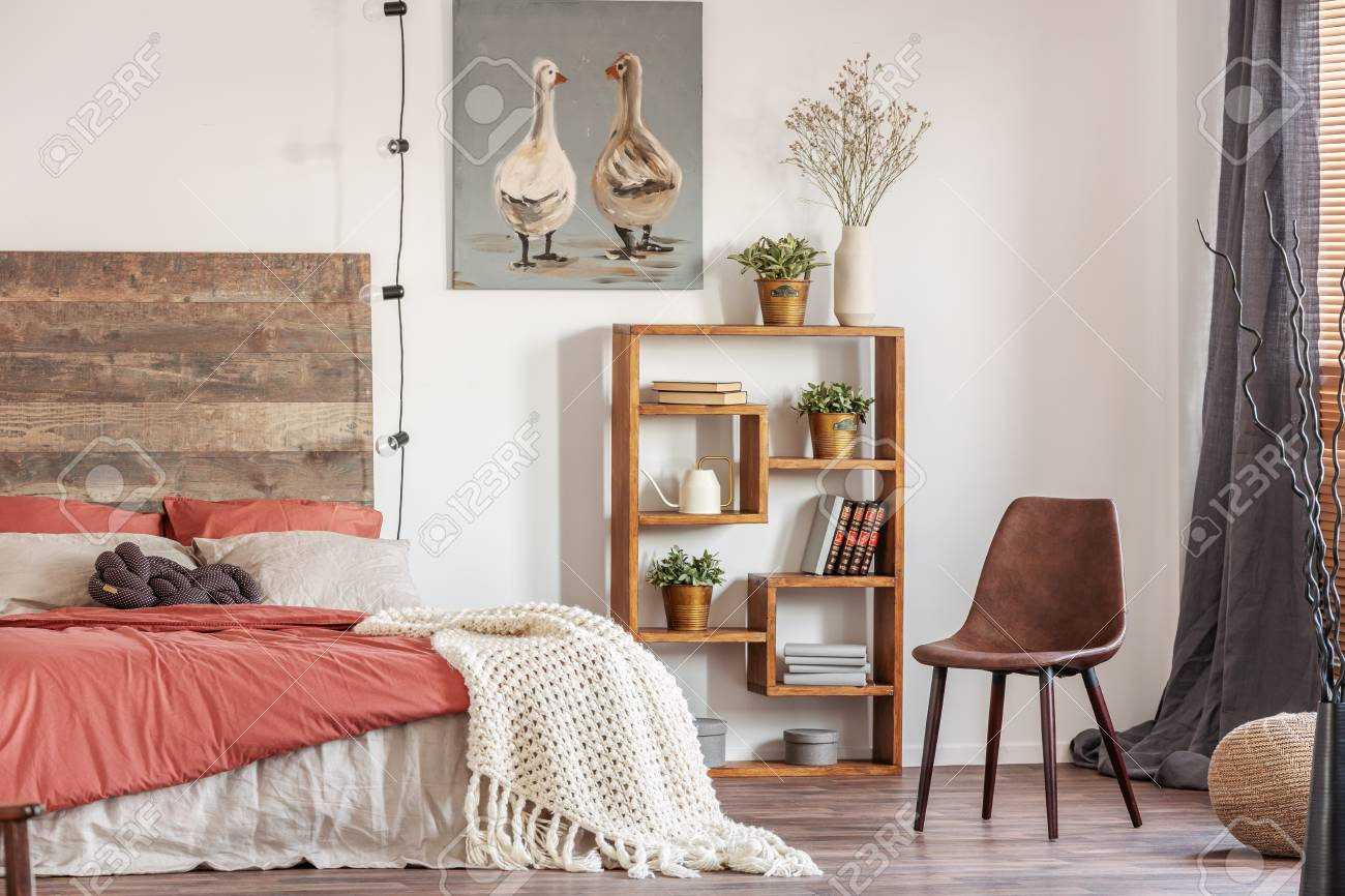 Picture of: Beautiful Bedroom Interior With King Size Bed Wooden Headboard Stock Photo Picture And Royalty Free Image Image 119580544