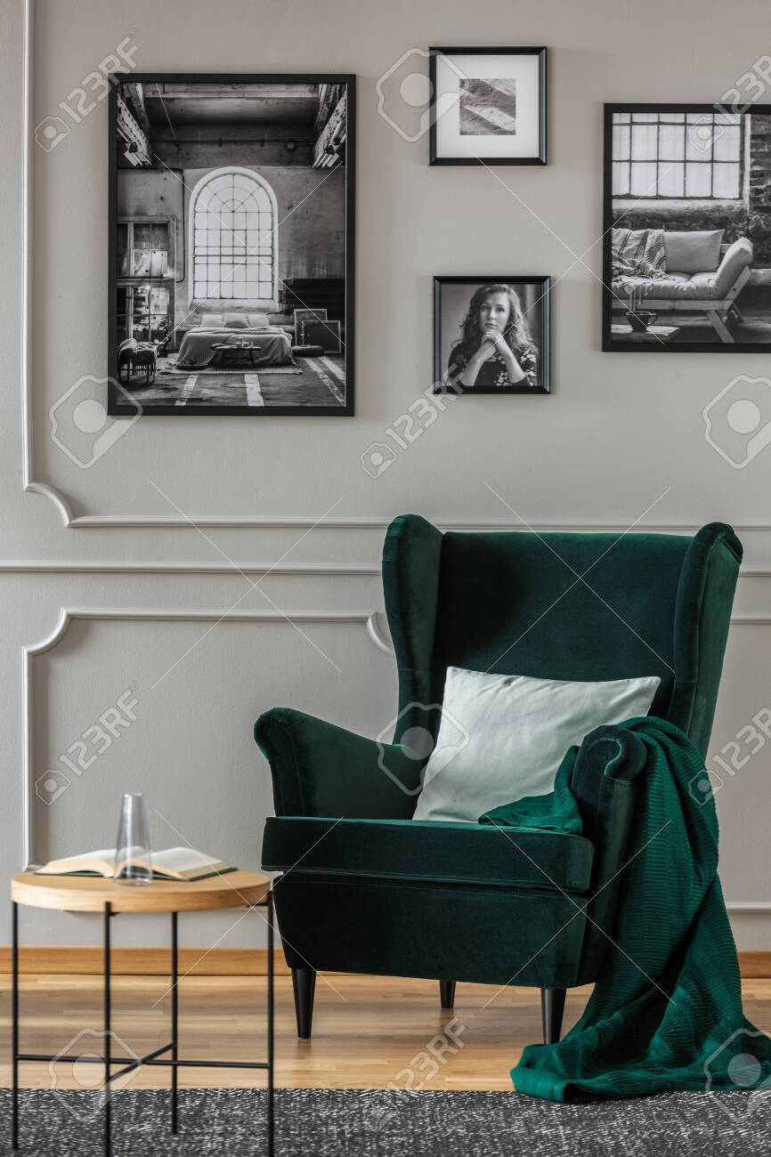 Pillow On Emerald Green Armchair In Elegant Living Room With Stock Photo Picture And Royalty Free Image Image 124525277