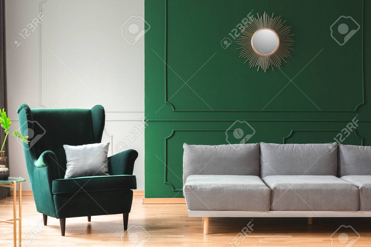 Elegant Living Room Interior With Emerald Green Chair With Pillow Stock Photo Picture And Royalty Free Image Image 124577486