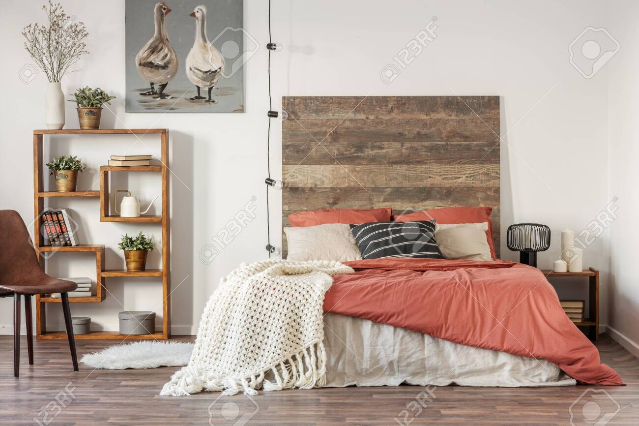 Beautiful Bedroom Interior With King Size Bed Wooden Headboard Stock Photo Picture And Royalty Free Image Image 124577863