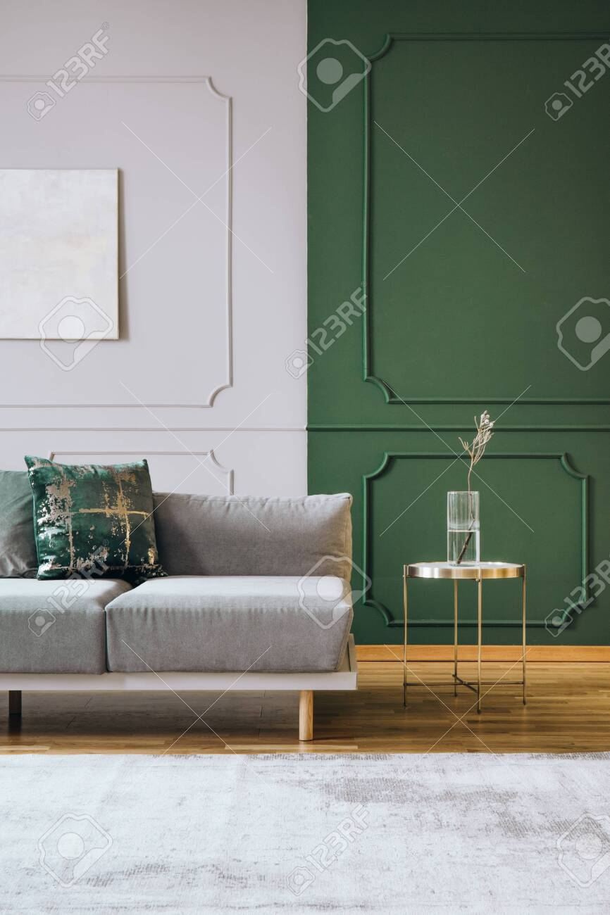 Abstract Oil Painting On Grey Wall With Moldings In Contemporary