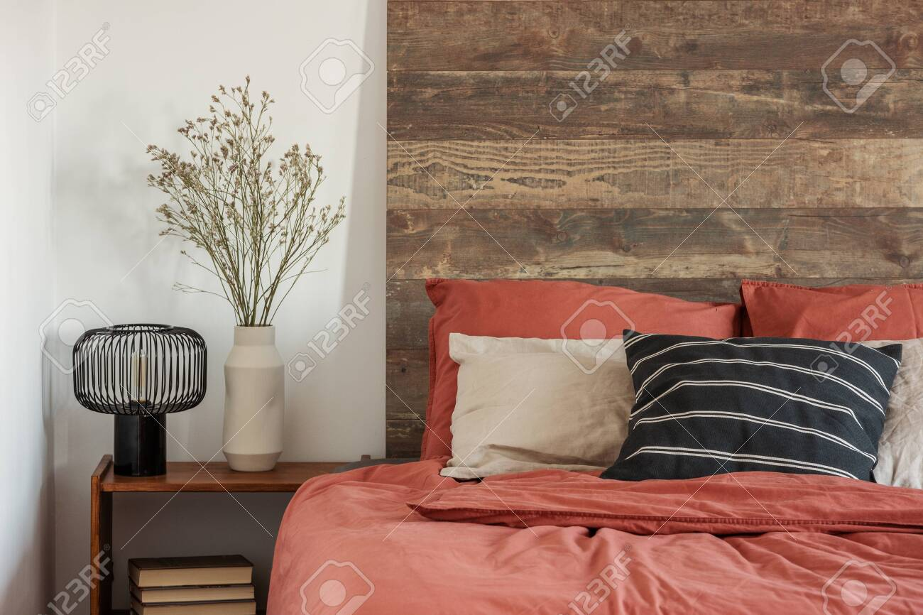 Beautiful Bedroom Interior With King Size Bed Wooden Headboard Stock Photo Picture And Royalty Free Image Image 125589264