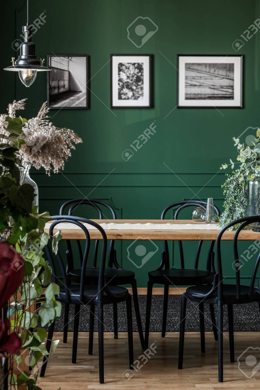 Real photo of black chairs standing at a wooden table in elegant dining room interior with framed photos on green wall - 125785288