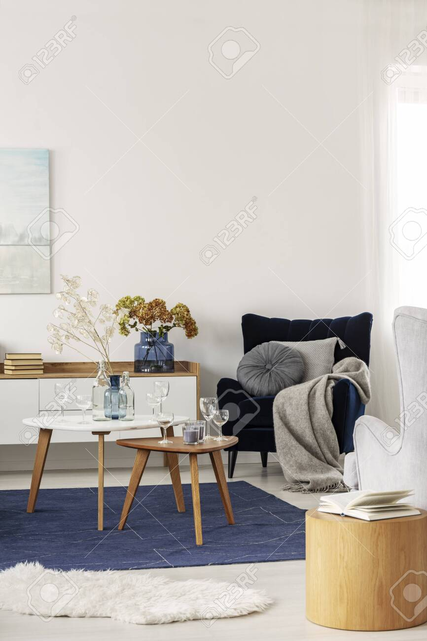Grey And Navy Blue Living Room Interior With Coffee Tables And Stock Photo Picture And Royalty Free Image Image 126377883