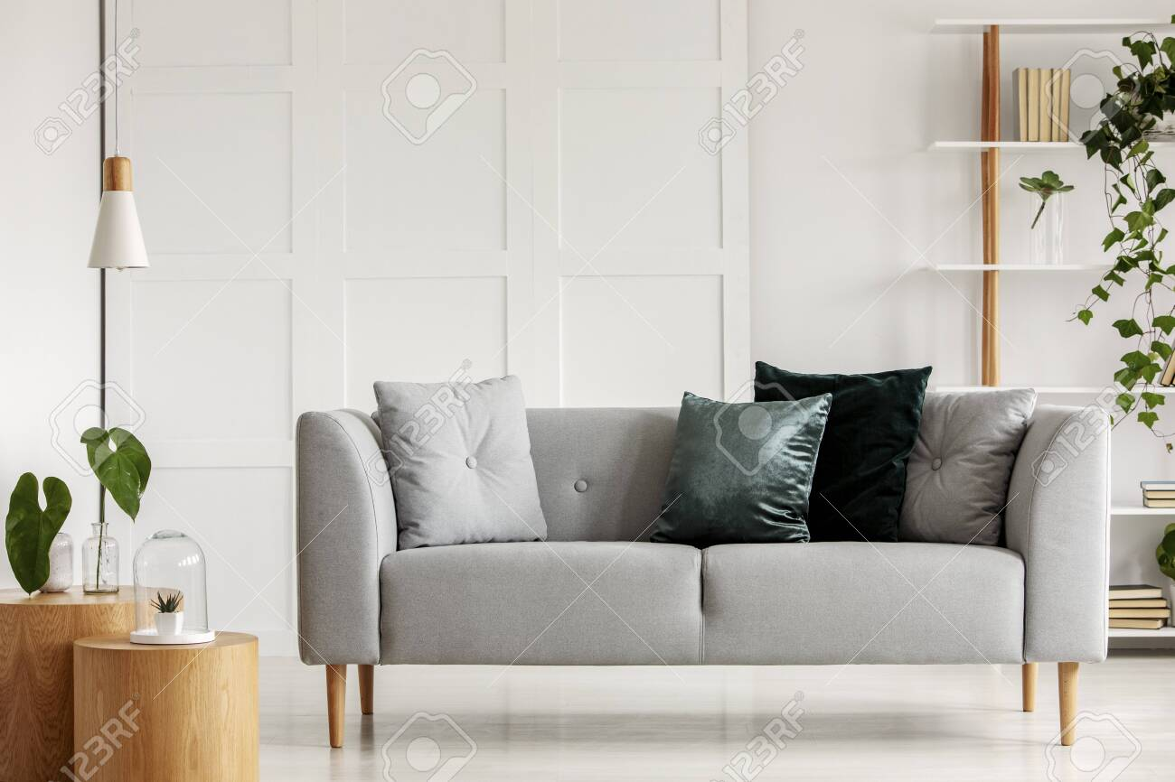 Enjoyable Designed Gray Couch With Wooden Legs In Modern Interior Theyellowbook Wood Chair Design Ideas Theyellowbookinfo