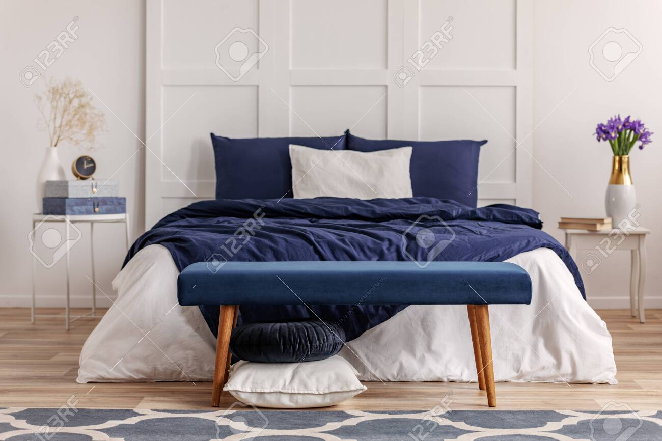 Navy Blue Bedroom Interior In Scandinavian Apartment Stock Photo Picture And Royalty Free Image Image 126577989