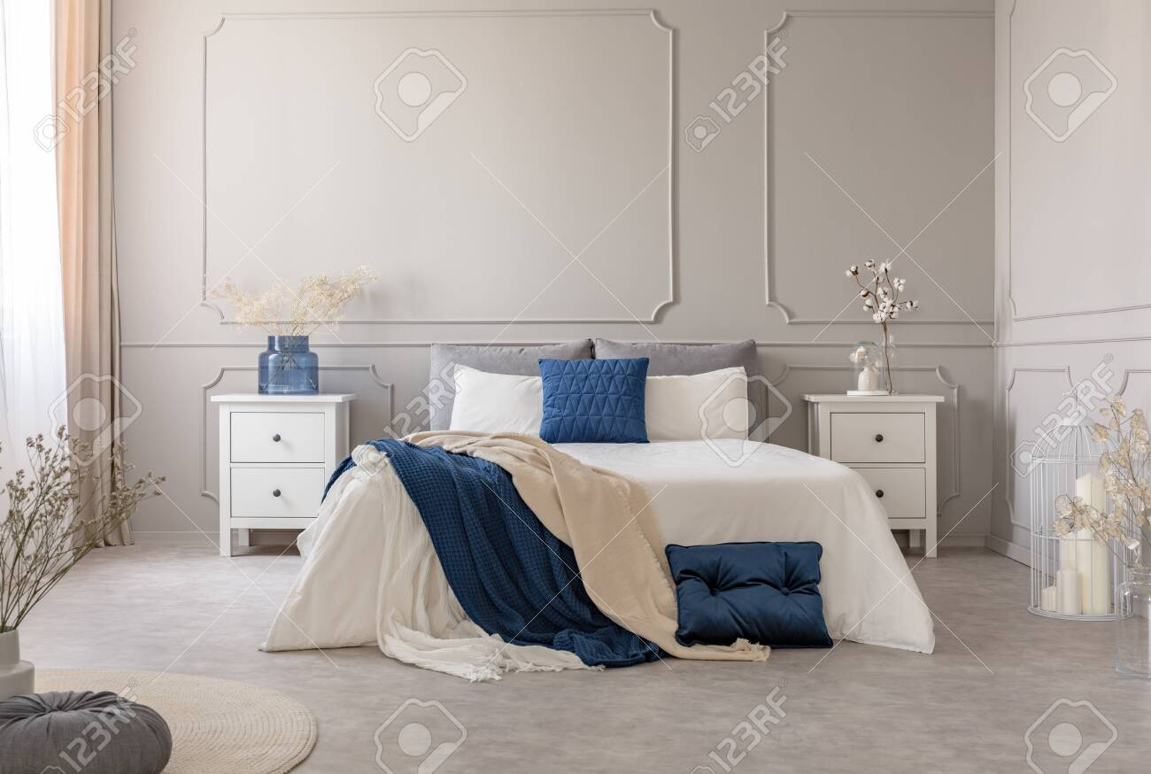 New york style bedroom interior with symmetric design, copy space..