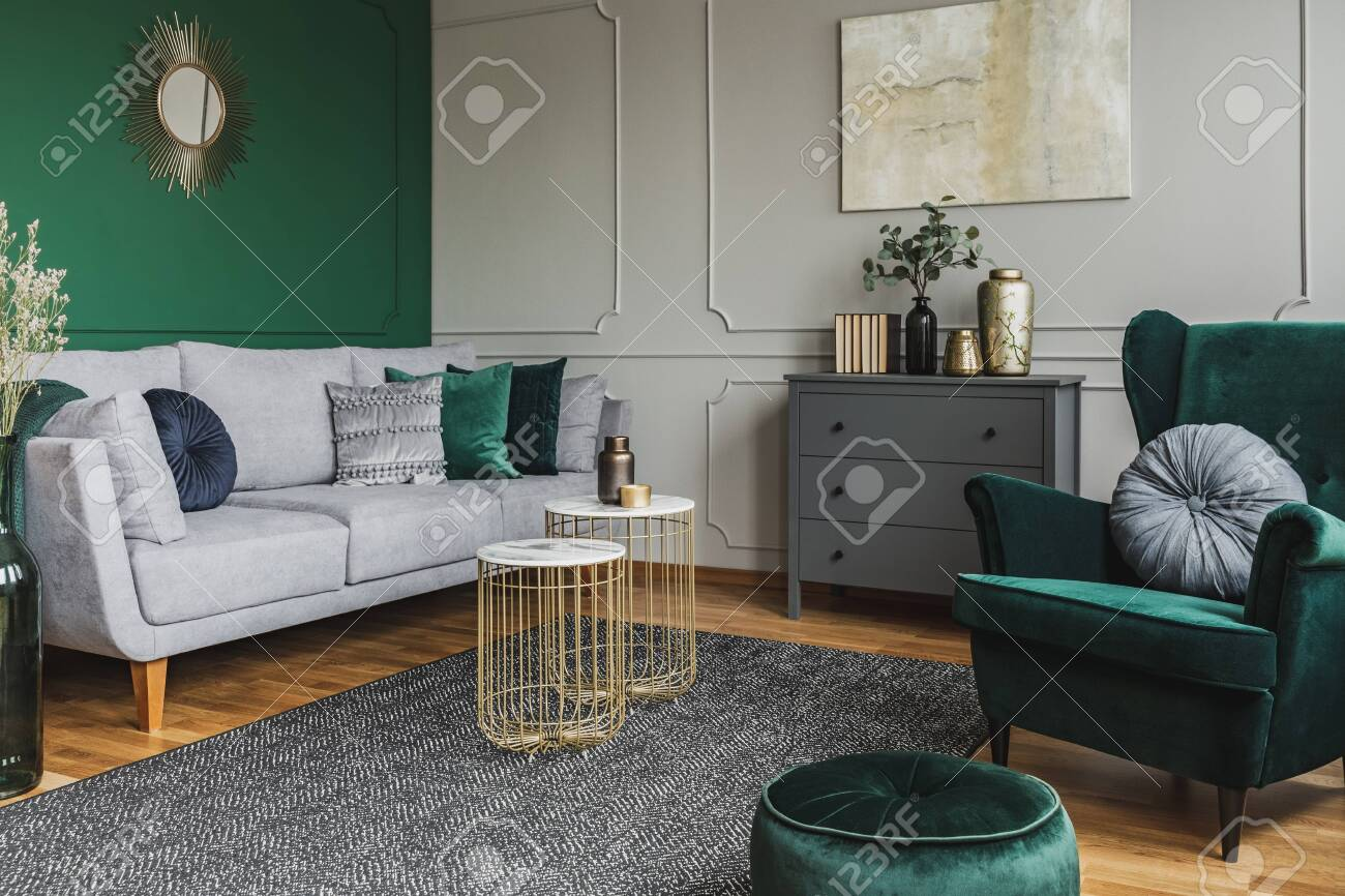 Stylish Emerald Green And Grey Living Room Interior Design With Stock Photo Picture And Royalty Free Image Image 128074226