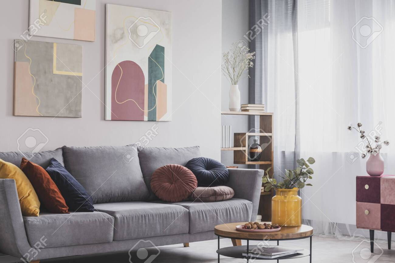Groovy Coffee Table In Front Of Grey Couch In Scandinavian Living Room Beatyapartments Chair Design Images Beatyapartmentscom