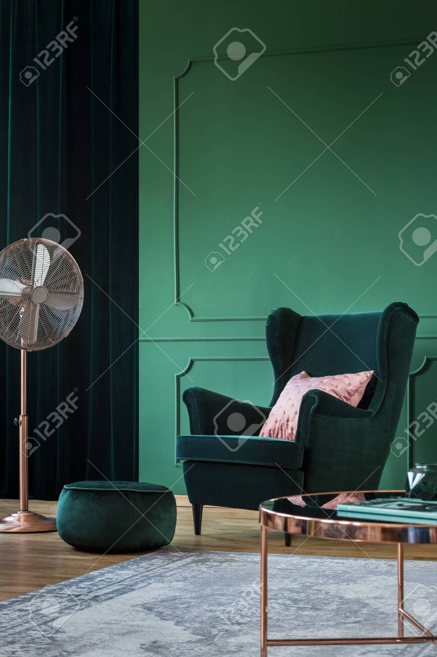 Emerald Green Velvet Armchair With Pastel Pillow In Trendy Living Stock Photo Picture And Royalty Free Image Image 128074548
