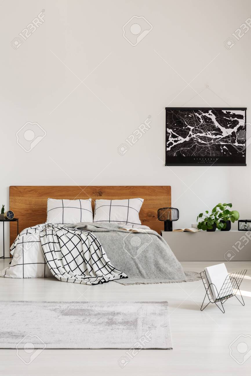 Copy Space On White Wall With Black Map In Modern Bedroom With Stock Photo Picture And Royalty Free Image Image 128074611