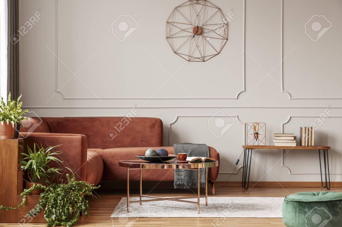 Brown Comfortable Corner Sofa In Elegant Living Room Interior