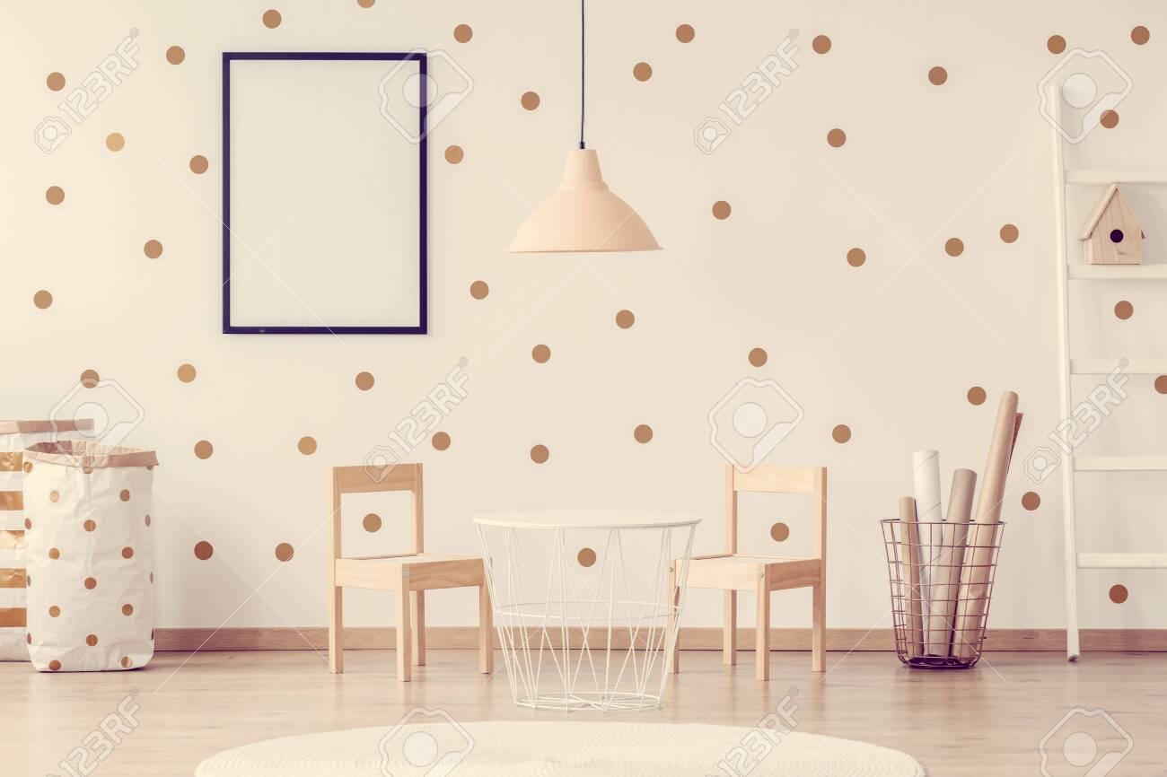 Pastel Pink Lamp Above Small Trendy White Table With Wooden Chairs Stock Photo Picture And Royalty Free Image Image 128922937