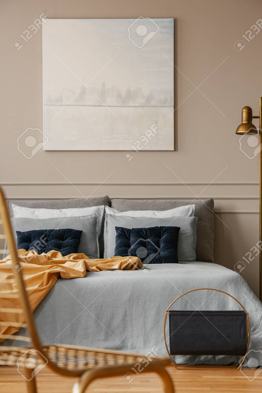 Pastel Blue Abstract Painting Above King Size Bed In Elegant Stock Photo Picture And Royalty Free Image Image 129344197