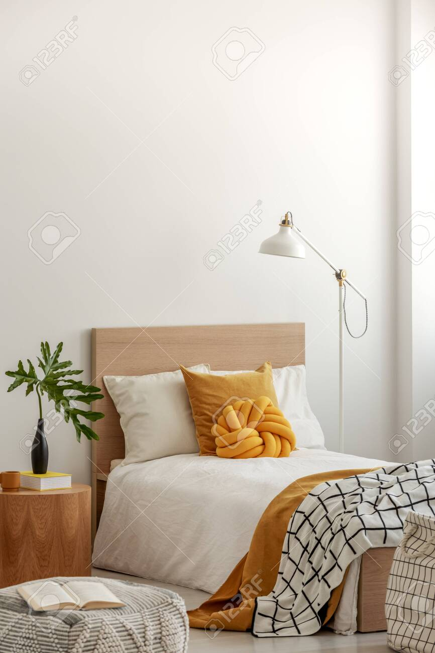 Knot Pillow And Black And White Blanket On Single Bed In Fashionable Stock Photo Picture And Royalty Free Image Image 129347646