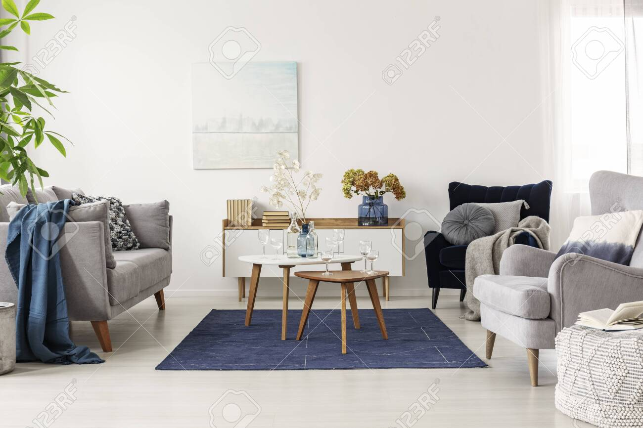 Elegant White Grey And Blue Living Room Interior With Scandinavian