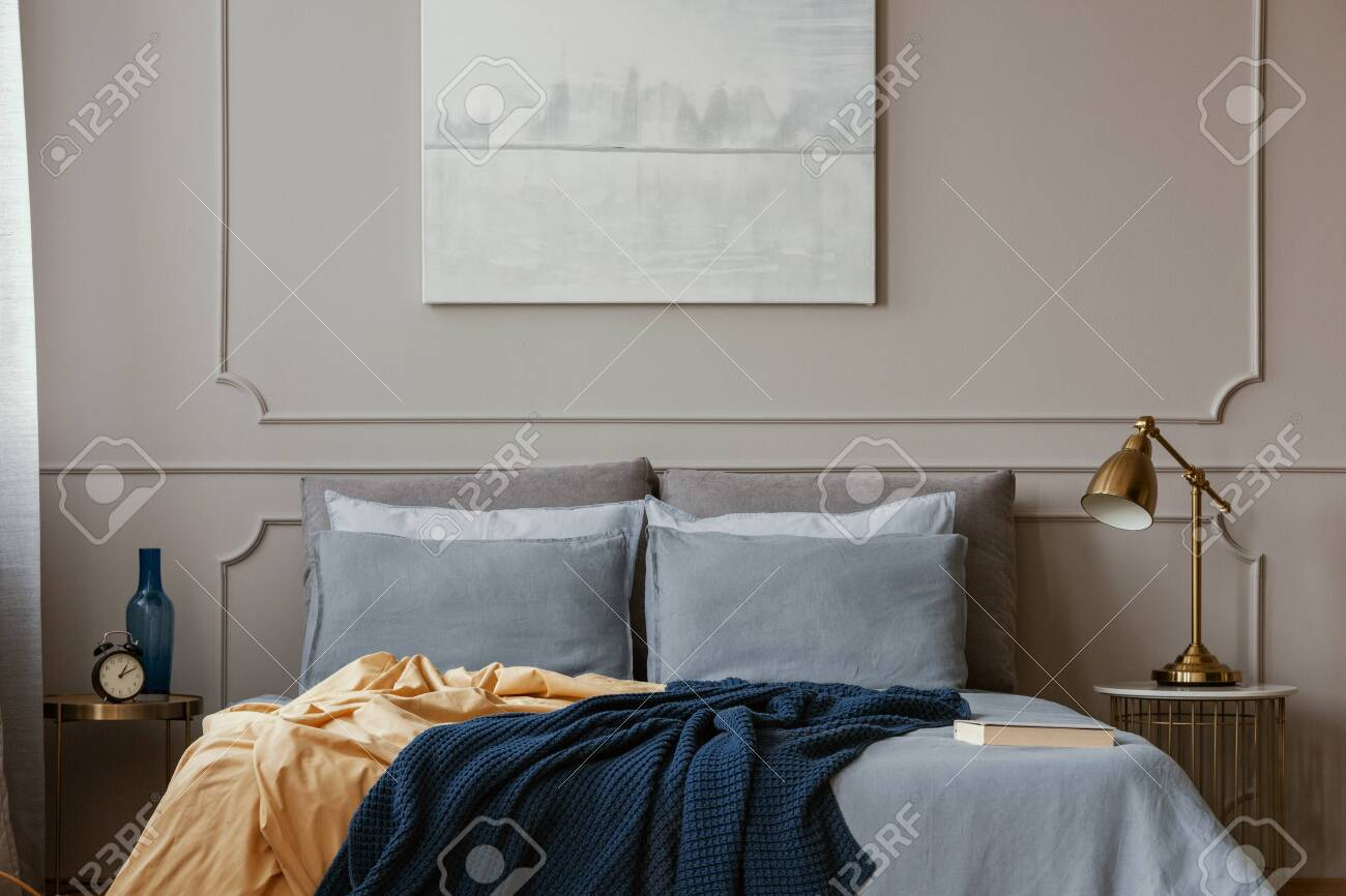 Pastel Blue Abstract Painting Above King Size Bed In Elegant Stock Photo Picture And Royalty Free Image Image 130625283