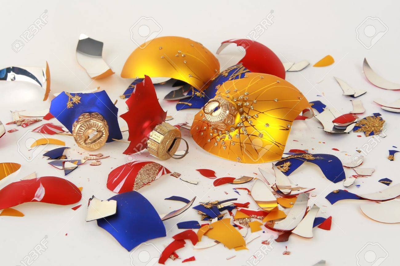 a bunch of broken christmas toys isolated on white Stock Photo - 4151938