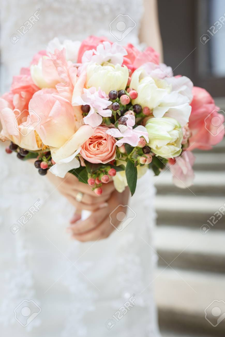 Beautiful Wedding Bouquet Of Pink And White Peony Flowers In.. Stock ...