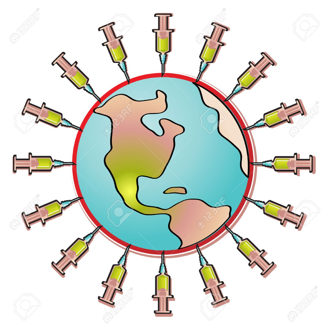Vector illustration of influenza virus in the shape of planet earth surrounded by vaccine syringes Stock Vector - 4892897