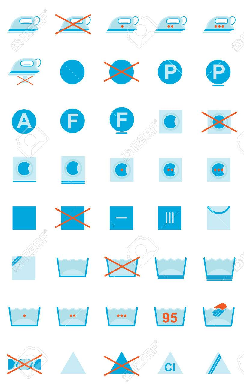 Set of 40 clothing care symbols Stock Vector - 7460200