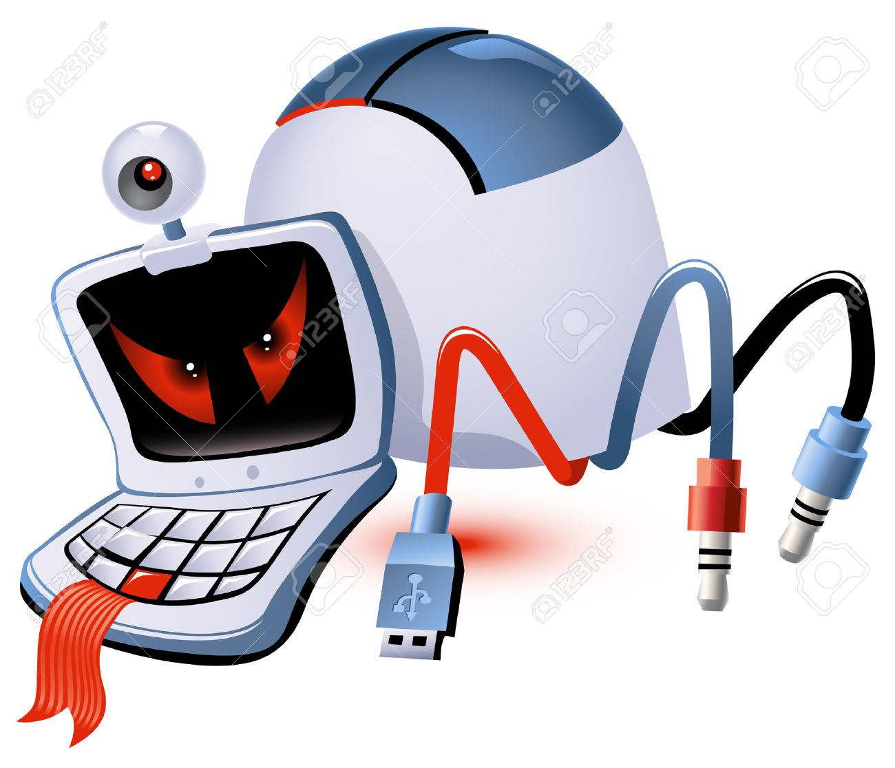 Computer monster made up of computer parts Stock Vector - 8043809