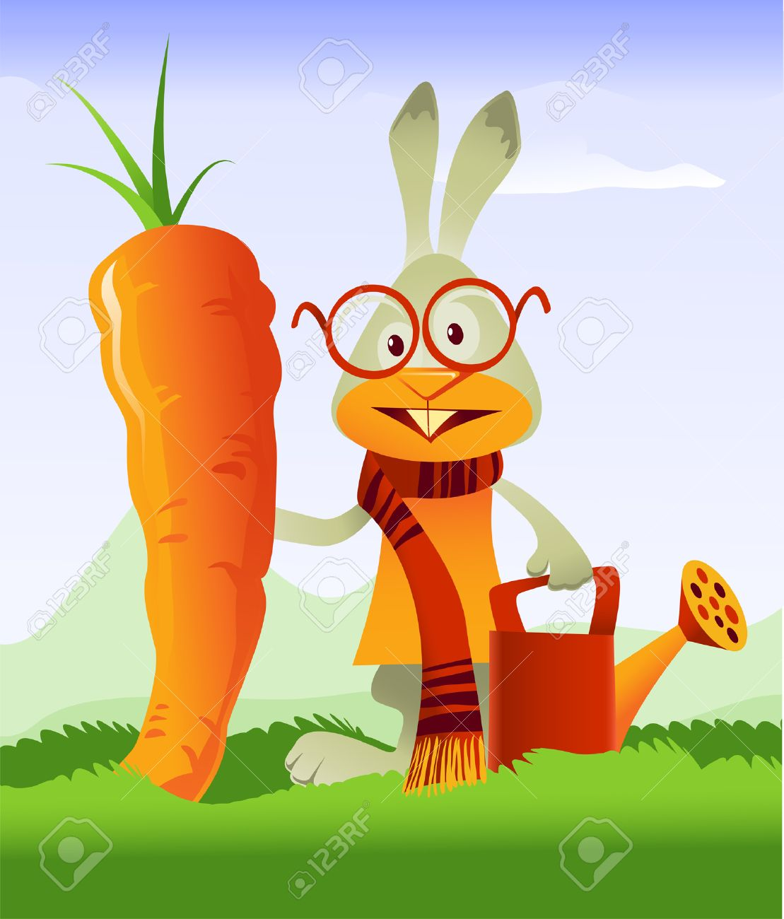 Happy rabbit admiring the gigantic carrot he grew in his garden Stock Vector - 8065146